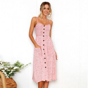 Boho Floral Print Summer Dress Women V Neck Pockets Sleeveless Midi Dresses Female Sunflower Pleated Backless Button Sexy Dress-geekbuyig