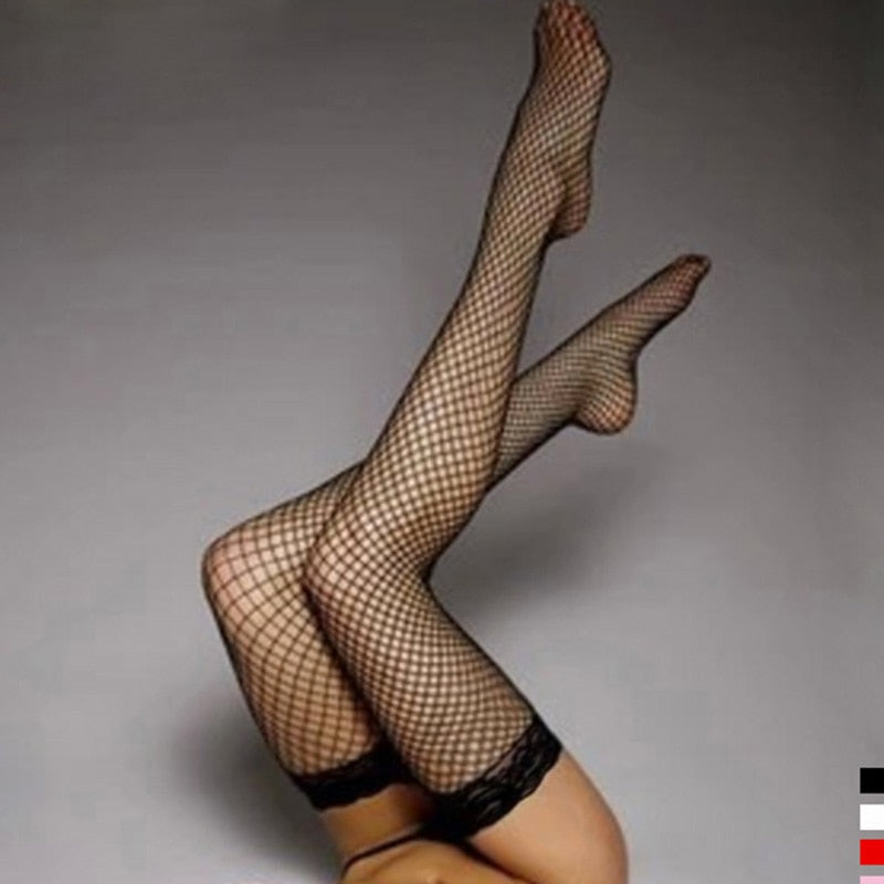 5 Colors Sexy Women'Stocking Lace Top Stay Up Thigh High Stockings Hosiery Hollow Out Mesh Nets Fishnet Stockings Pantyhose-geekbuyig