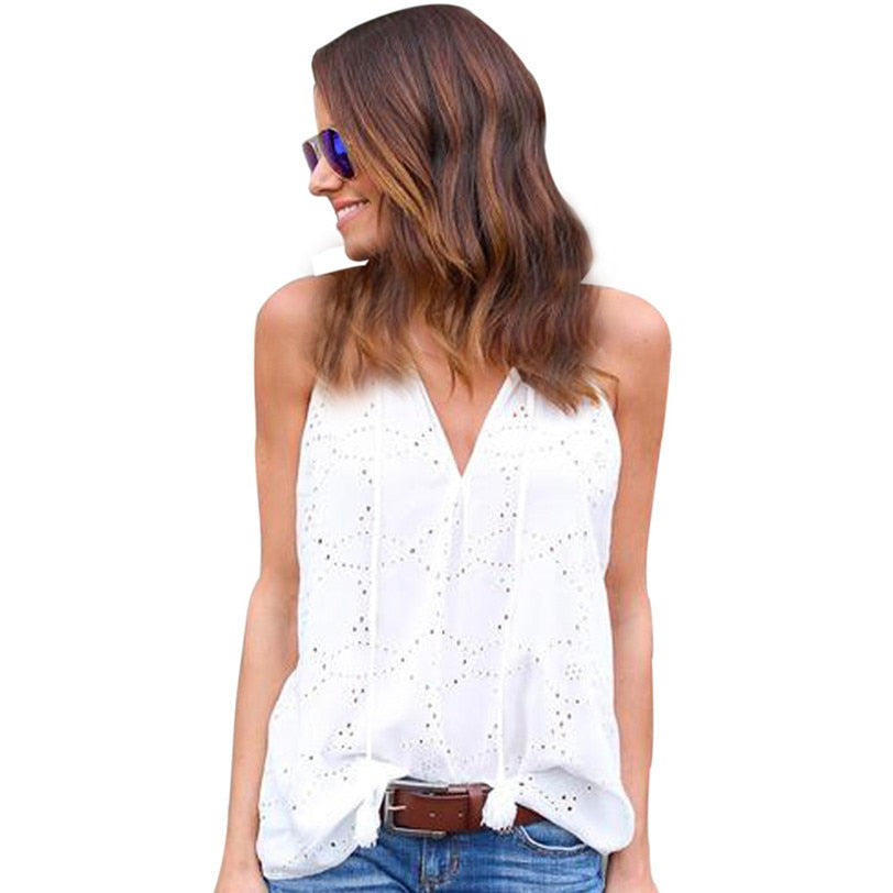 Sweet Lace Tank Top Vest Women Beach Casual Boho V Neck Camis 2018 Women's Tops Base Shirt Women's Blouse Wholesale noAR13-geekbuyig