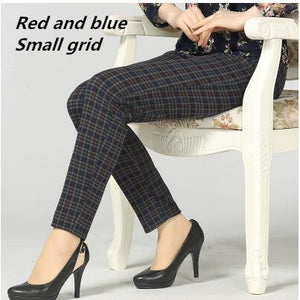 Large size 2017 Winter Women grid Pants Warm sweat Plus Thick Velvet Pants Slim High Waist Stretch Pencil Pants Female Trousers-geekbuyig
