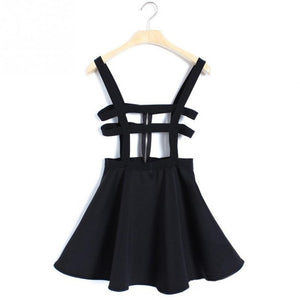 Women A-line Skirt Overall Pleated Suspender Skirt Braces Back Hollow Out Bandage Mini Skater Skirt-geekbuyig