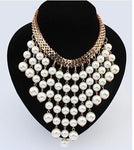 Fashion Beads Gold Chocker Collar Necklace For Women New Wedding Accessories Simulated Pearl Necklaces Statement Jewelry-geekbuyig