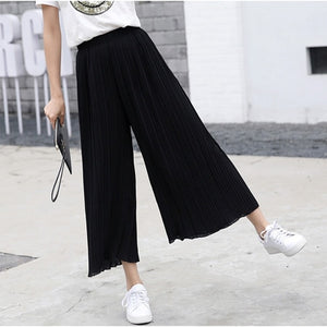 2018 Summer Bohemian High Waist Pleated Chiffon Wide Leg Pants Women Fashion Solid Palazzo Pants Loose Flare Pantalones Mujer-geekbuyig