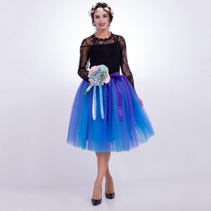 7 Layers Midi Tulle Skirts Womens Fashion Pleated TUTU Skirt Elegant Wedding Vintage Lolita Petticoat faldas mujer saias Jupe-geekbuyig