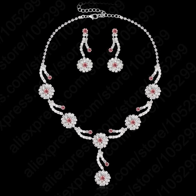 2018 Free Shipping Hot Design Full Rhinestone Cubic Jewellery 925 Sterling Silver Wedding Jewelry Set Earring+Necklace-geekbuyig