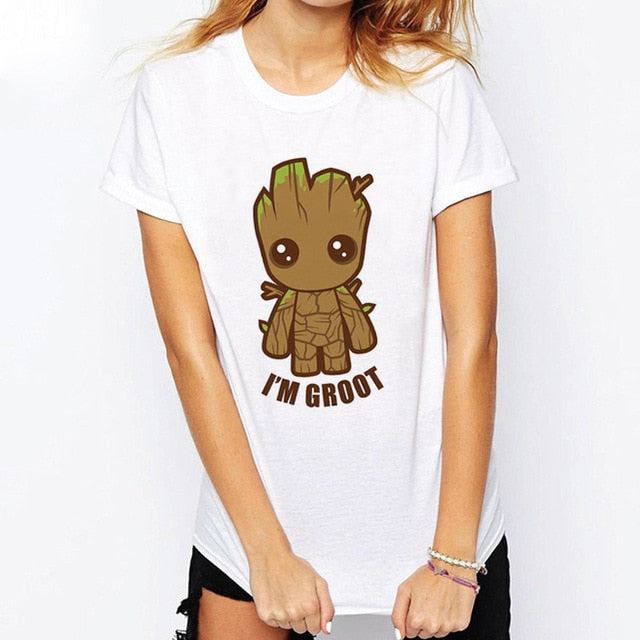 ZZSYKD Women White Vogue T Shirt Baby Groot Printed Pop Summer Funny T-Shirt Guardian Femme Sexy Tshirt Top Plus Size Clothing-geekbuyig