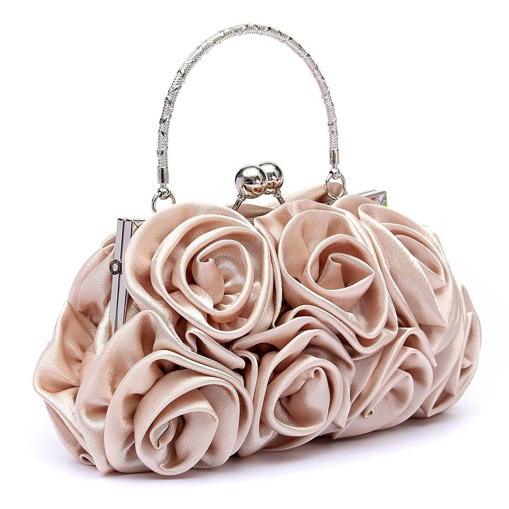 New 2018 satin Hot Fashion Floral Ladies day Clutch Bag Women Evening Party Prom Bridal Diamante Baguette White 5 colors summer-geekbuyig