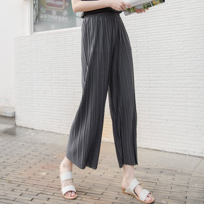 WHZHM 2018 Summer Pants Women High Waist Loose Wide Leg Pants Summer/Spring Casual Trousers Ladies Pink Thin Long Pants Female-geekbuyig