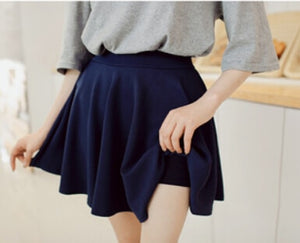 Summer Style Korean Version Skirts Safty Mini Skirt Women's Spring and Summer Solid High Waist Pleated All Match Short Skirt-geekbuyig