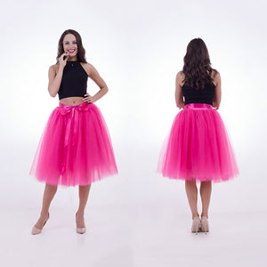 Summer 5 layer 65cm Fashion Midi Mesh Fluffy Soft Tulle Tutu Skirt Pettiskirt 26 colors Skirt Mother Daughter Skirts-geekbuyig