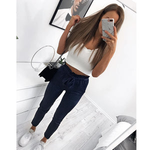 Streetwear striped harem pants capri Ruffle loose casual pants women 2018 Summer trousers mid waist pants-geekbuyig