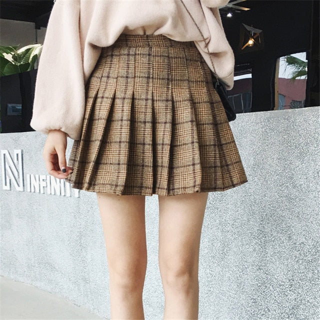 2018 Autumn High Waist Pleated A-line Skirts Girls Harajuku Woolen Plaid Skirts Sailor Mini Skirt Japanese School Skirt Uniform-geekbuyig