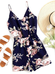 Women Summer Beach Criss Cross Back Spaghetti Straps Fashion Romper Boho Floral Overalls Sexy Chiffon Playsuit Plus Size XXS-5XL-geekbuyig
