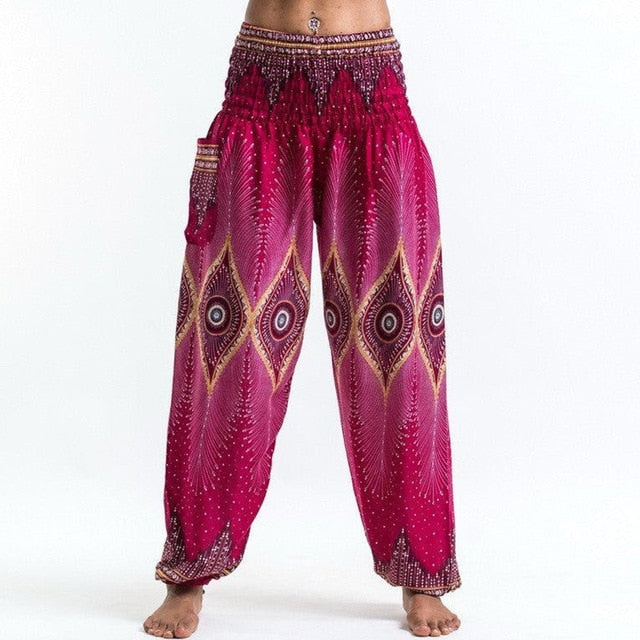 Women National Style Loose Cotton Printed Pants Elastic Baggy Boho Female Harem Long Pants Comfy Side Pocket Indie Folk Trousers-geekbuyig