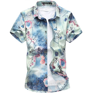Men Fashion Short Sleeve Silk Hawaiian Shirt Men Summer Casual Floral Shirts Man Plus Size 3XL 4XL 5XL 6XL 7XL Dropship-geekbuyig
