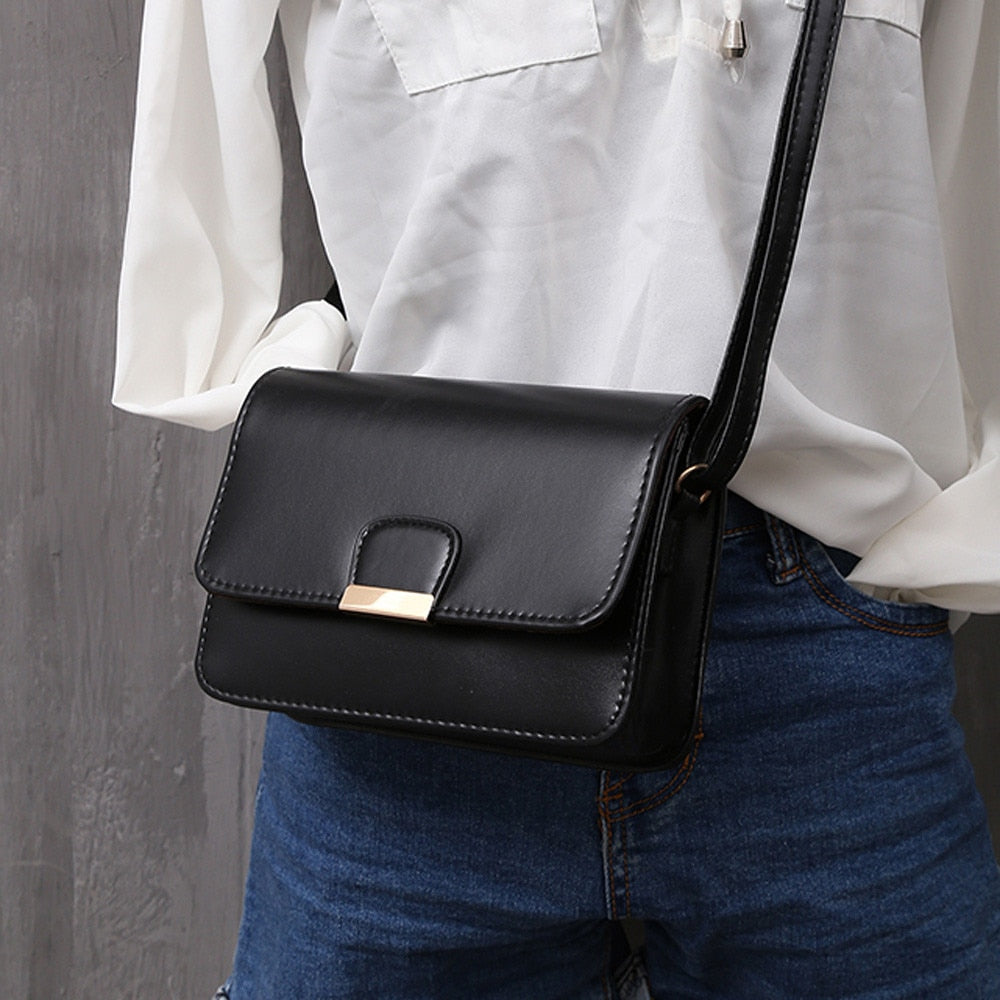 Women's Fashion Leather Simple Solid Handbag Small Shoulder Bags Crossbody Bags for Girls Messenger Bags for Female bolso mujer-geekbuyig