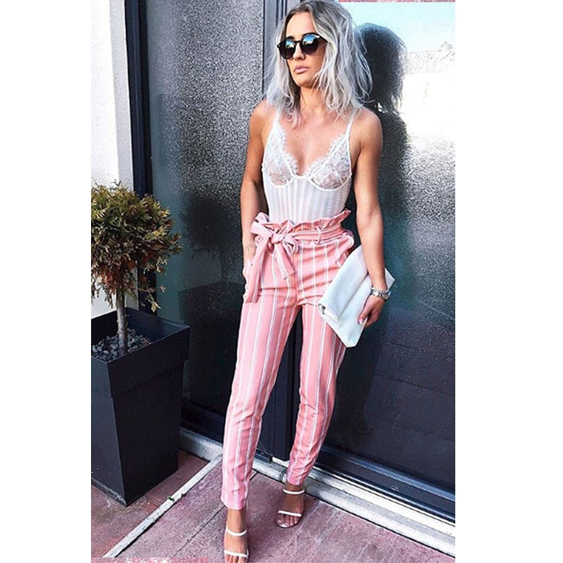 Summer Ladies Printed White Double Striped Pants Pink OL Women Drawstring Pencil Trousers-geekbuyig