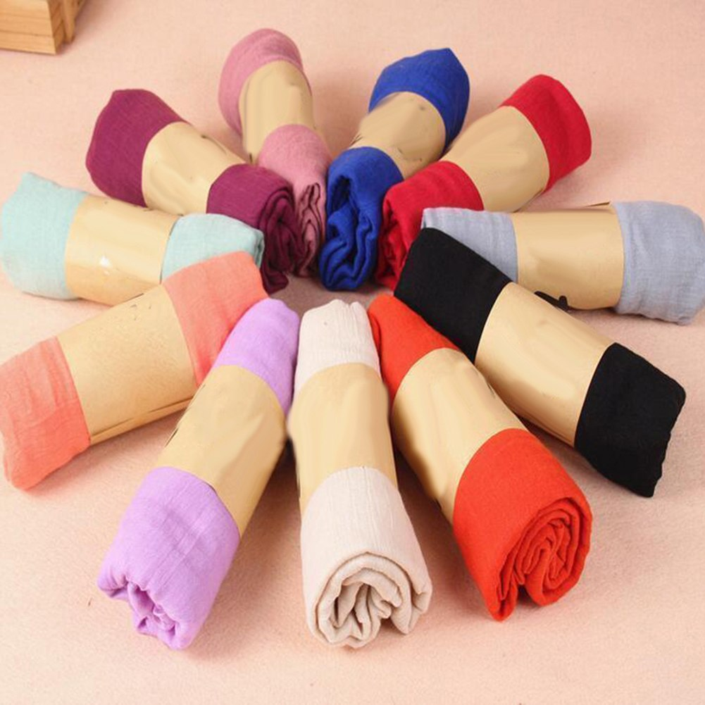Women Long Candy Color Soft Cotton Scarf Wrap Shawl Fashion Stole Accessory-geekbuyig