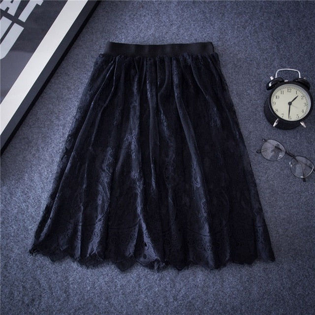 Autumn Summer Women Sexy Lace Skirts Chic Floral Lace Solid Casual Mesh tulle skirt Hollow Out short Black White Skirt-geekbuyig