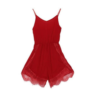 Sleeveless Lace Chiffon Playsuit Sexy Women Skinny overalls Jumpsuit Rompers Vintage Female Solid Summer Beach Tops #AS1250-geekbuyig