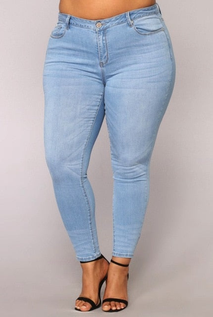 PLUS SIZE Jeans Women High Waist regular Pencil Blue Denim Pants women bleached washed Jeans women 3XL 4XL 5XL 6XL 7XL big hip-geekbuyig