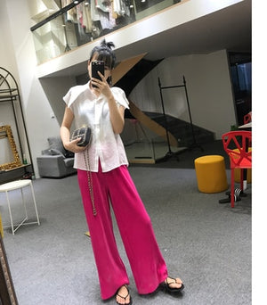 2018 spring summer new fashion women Vintage High waist Wide Leg Pants Women Full-Length Loose Soft Thin Pleated Pants Ladies-geekbuyig