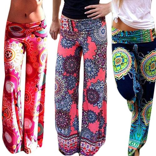 Women's Summer Floral Pants Casual High Waist Flare Wide Leg Long Trousers-geekbuyig
