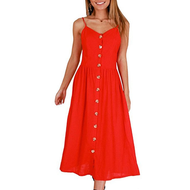 3XL Plus Size Dresses Vintage White Red Button Backless Strap Sexy Beach Dress Party Slim Pockets Women Summer Dress Vestidos-geekbuyig
