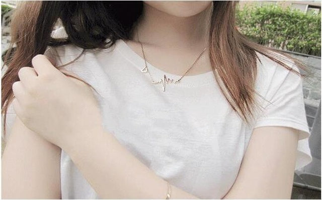 2018 New Simple Popular Electrocardiogram Necklace For Women Fashion Jewelry Clavicle Chain Collares-geekbuyig