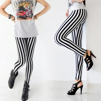 Womens Lady Fashion Cool Sexy Black White Strip Print Tights Pants Cool-geekbuyig