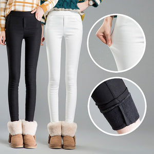2018 autumn winter warm skinny pencil pants women velvet pants casual solid pencil pants fleece warm pants female long trousers-geekbuyig