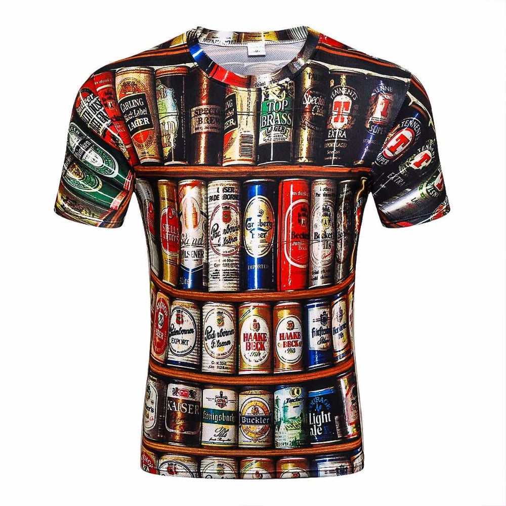 2017 Novelty 3D t shirt Men Cans of beer Printed Hip Hop Crewneck short Sleeve Men/Women t-shirt tee tops wholesale-geekbuyig