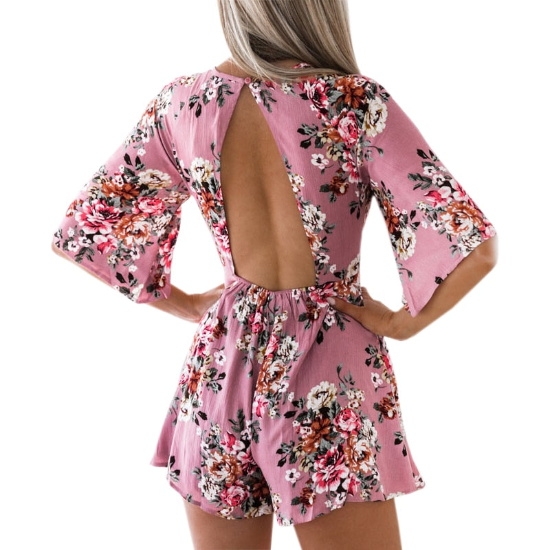 Elegant Sweet Floral Print Women Playsuits Sexy Jumpsuit Shorts 2018 New Summer Half Sleeve Party Beach Playsuit Overalls GV417-geekbuyig