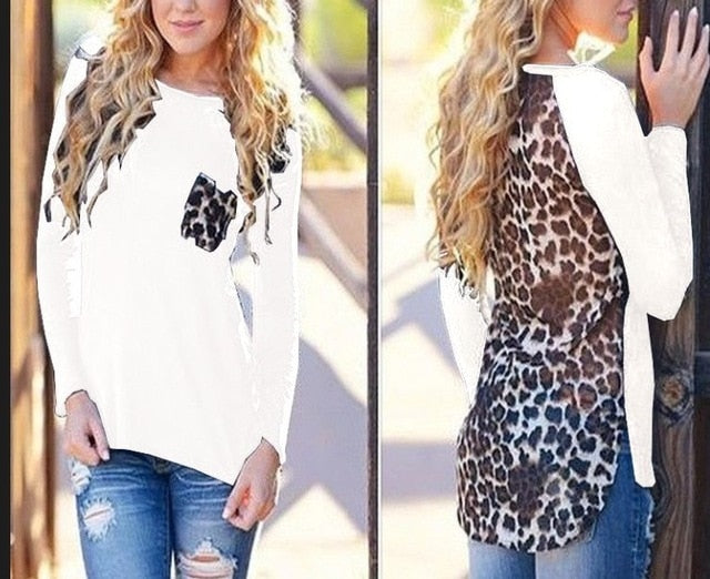 S-5XL Spring 2018 Casual Women T-shirt Long Sleeve Splice Leopard Printed Package Hip Shirt Plus Size Women Clothing Sexy Tops-geekbuyig