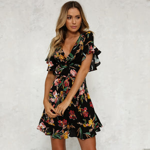 Summer Dress 2018 Women Sexy Deep V-Neck Black Flower Print Dresses Hem Folds Bohemian Style Belt Mini Ruffle Beach Dress-geekbuyig