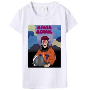 Summer David Bowie Womens T Shirt Hip Pop White Print Rock Bowie Funny Tshirt Women Casual Rock David Bowie Tshirt Tops Female-geekbuyig