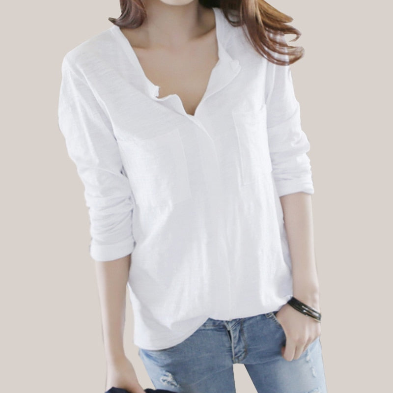Women T Shirt 2018 Autumn femme tshirt Fashion Sexy V Neck Cotton Solid Tops Casual Female Long Sleeve T-shirts Camisetas Mujer-geekbuyig