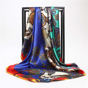 Leopard Flower Printed Silk Scarf Women Fashion Spring Summer 90*90cm polyester Shawl Hijab High Quality Satin Square Scarves-geekbuyig