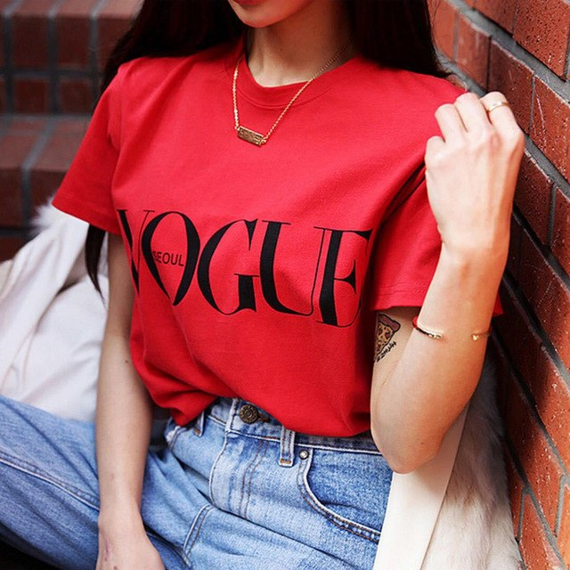 Fashion Summer Girl Short Sleeve Tops Clothes for Women VOGUE Letter Printed Harajuku T Shirt Red Black female T-shirt Camisas-geekbuyig