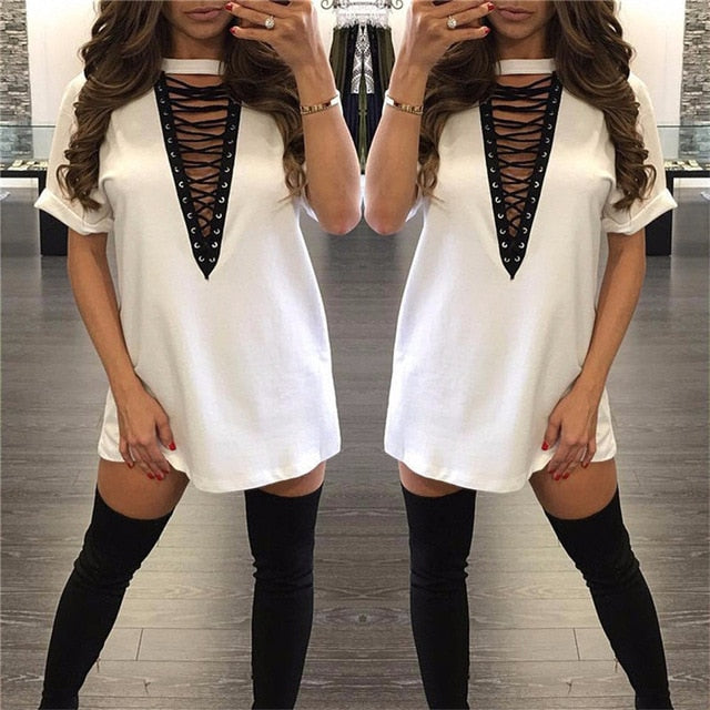 Summer T shirt Dress 2018 Women Choker V-neck Lace Up Sexy Bandage Bodycon Party Dress Casual T-shirt Dress Vestidos Plus Size-geekbuyig