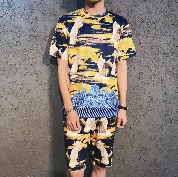 Mens Short Sleeve Baroque Print T-Shirt Shorts Sets-geekbuyig