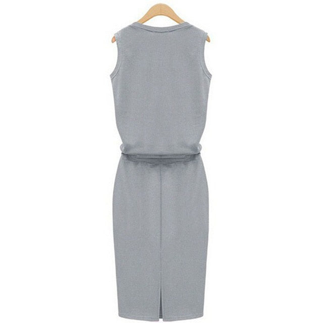 Cotton Linen Dress 2018 Summer Fashion Women Sleeveless Slim With Belt O-neck Dress Gray Black Rose 3 Colors M-XL Large Size-geekbuyig