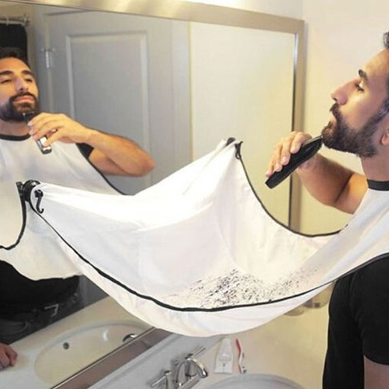 Vintage Barbershop Man Beard Trimming Catcher Facial Hair Shaving Apron Bathroom Apron Gown Bathroom Beard Care Haircut-geekbuyig
