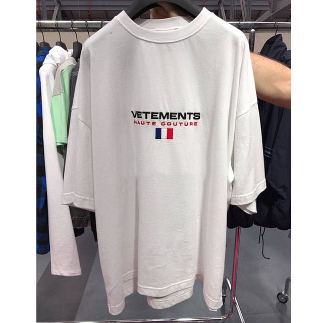 Embroidery Short Sleeve Vetements T Shirts Women Men 1:1 Best Quality France Flag Hiphop Top Tees Vetements T Shirt-geekbuyig