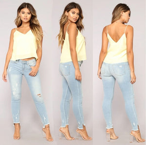 NEW ARRIVALS casual Long Jeans Women High Waist Skinny Pencil Blue Denim Pants ripped hole cropped skinny slim fit Jeans women-geekbuyig