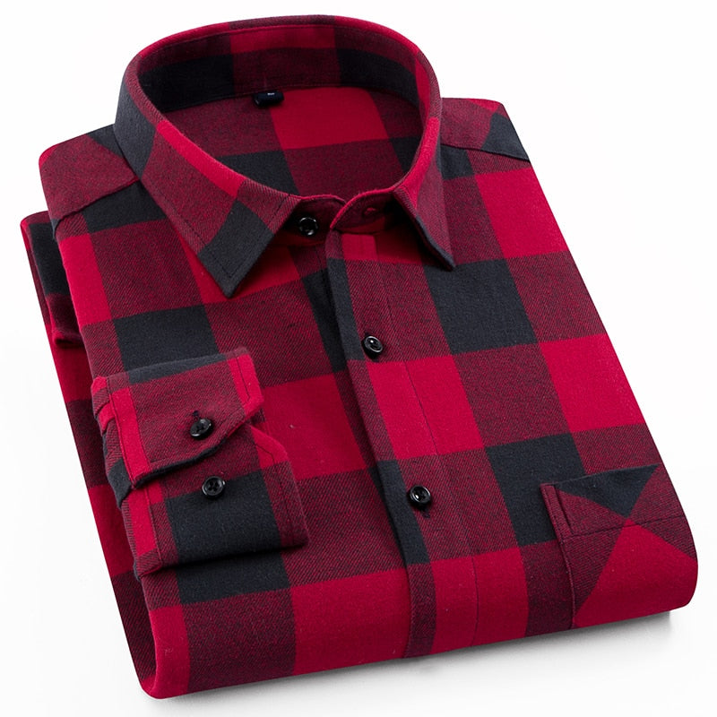 Men's 100% Cotton Casual Plaid Shirts Pocket Long Sleeve Slim Fit Comfortable Brushed Flannel Shirt Leisure Styles Tops Shirt-geekbuyig