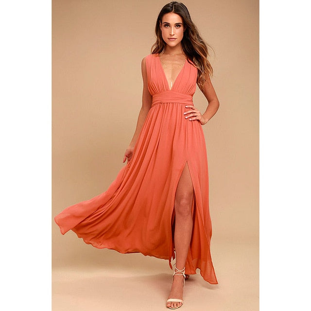 Fashion Vestidos 2018 Summer Women Sexy V Neck Sleeveless Beach Dresses Ladies Casual Loose Long Maxi Party Dress Plus Size-geekbuyig