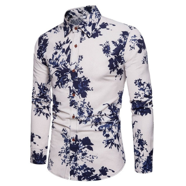 Fashion Spring Autumn Casual Men Shirt Slim Fit Flower Print Linen Shirt Long-sleeved Shirts Male Floral Social Masculina M-5XL-geekbuyig