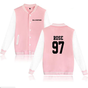 KPOP Blackpink College Baseball Jacket Moletom Feminino Korean Streetwear hiphop Harajuku Sweatshirts Hoodies Women Outerwear-geekbuyig