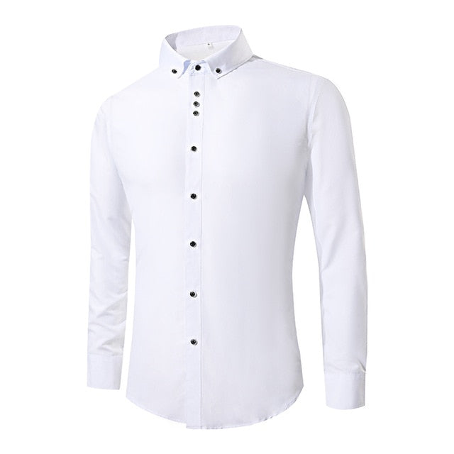 2018 New Fashion White Dress Shirts Men Long Sleeve Casual White Formal Shirt Men Slim Fit Wedding Shirt Male Clothing Tops-geekbuyig